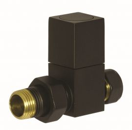 HeatQuick - Black Manual Square Straight Valve and Lockshield