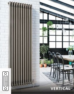 DQ - Modus 3 Column Vertical Radiator - Bare Metal Lacquer