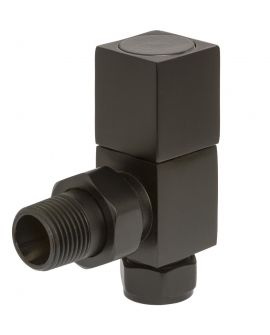 HeatQuick - Black Manual Square Angled Valve and Lockshield