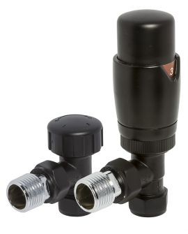 HeatQuick - Black Angled TRV Valve and Lockshield