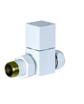 HeatQuick - White Manual Straight Square Valve and Lockshield