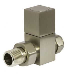 HeatQuick - Brushed Nickel Manual Square Straight Valve and Lockshield