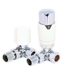 HeatQuick - White Corner TRV Valve and Lockshield