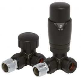 HeatQuick - Black Corner TRV Valve and Lockshield