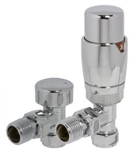 HeatQuick - Chrome Angled TRV Valve and Lockshield