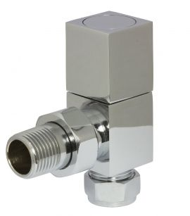 HeatQuick - Chrome Manual Square Angled Valve and Lockshield