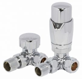 HeatQuick - Chrome Corner TRV Valve and Lockshield