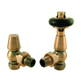 HeatQuick - Antique Copper Manual Traditional Angled Valve and Lockshield