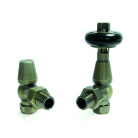 HeatQuick - Old English Brass Manual Traditional Angled Valve and Lockshield