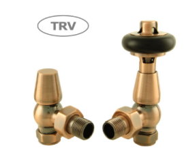 HeatQuick - Antique Copper Traditional Angled TRV and Lockshield