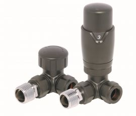 HeatQuick - Anthracite Corner TRV Valve and Lockshield