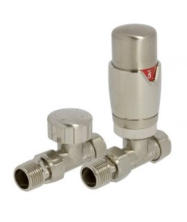 HeatQuick - Satin Brushed Nickel Straight TRV Valve and Lockshield