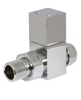 HeatQuick - Chrome Manual Square Straight Valve and Lockshield