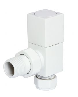 HeatQuick - White Manual Square Angled Valve and Lockshield
