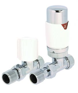 HeatQuick - White Straight TRV Valve and Lockshield